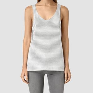 All Saints Noah Tank Top Striped Smog Size Small Loose Fit